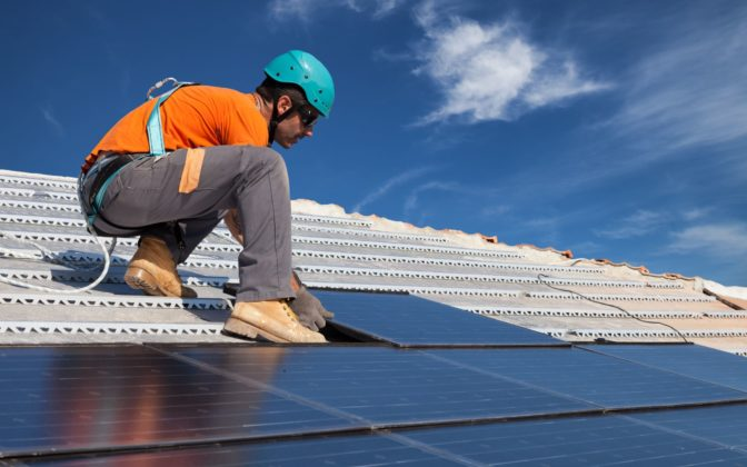 Solar install with harness