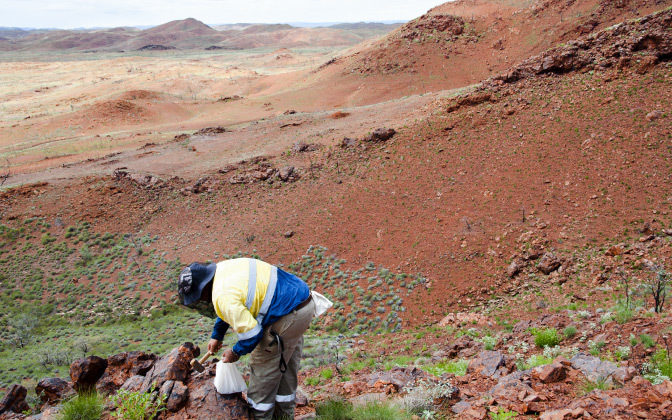 Geologist Sampling Pilbara