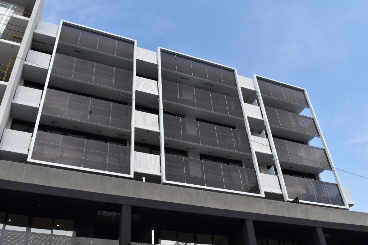 Residential apartments in Melbourne using solar glass on balconies.